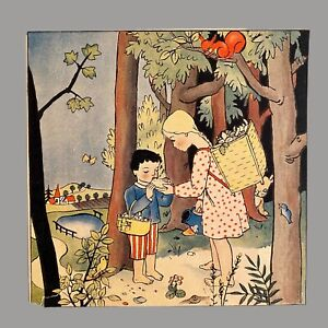 1930er Antiker Druck Kinderbuch Bild Alt 16cm BESCHÄDIGT Kiepe Mädchen Wald See