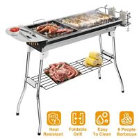 Stainless Steel Folding Charcoal Barbecue Grill w/Frying Pan Shelf for Camping