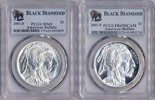 2 Black Diamond Lot 2001 American Buffalo Silver $1 PCGS MS69 & PR69DCAM