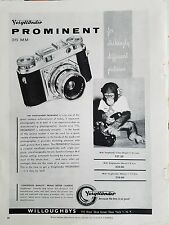 1955 Voigtlander  Prominent 35MM Camera Monkey Dialing Telephone Ad