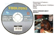 115x1.2x22.2mm 11.4cm Ultra Fino Metal Disco de Corte Acero & Inoxidable 1.2mm