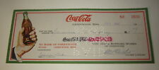Old Vintage 1942 Coca Cola Bottling Works Illustrated BANK CHECK Greenwood MISS.