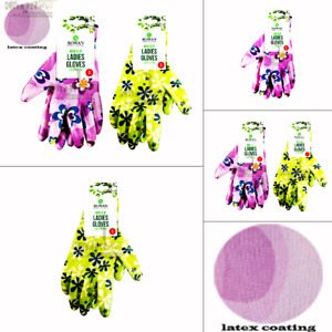 New Water Resistant Non Slip Ladies Pattered Design Garden Gloves Latex coated