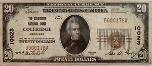 FR1802-1 / Coleridge, Nebraska (NE) Charter 10023 / 1929 $20 Type 1 Note