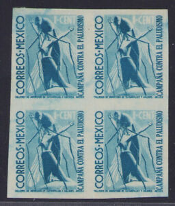de56 Mexico Postal Tax RA14 Imperforated Block-4 Mint Never Hinged 1ctv est
