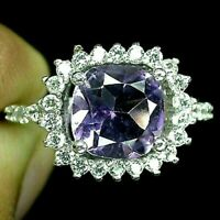 Ring Purple Amethyst Genuine Natural Gems Solid Sterling Silver Size M  US 6.25
