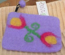 Felt Fair Trade Zipped Coin Purse Lilac Purple Floral Flower Lined Ethical Gift