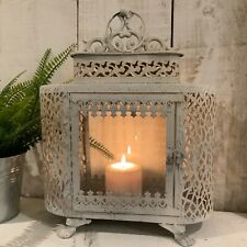 More details for white metal glass lantern vintage antique candle moroccan garden shabby chic