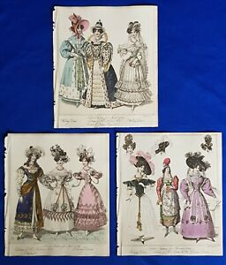 Antique Fashion Plates (set of 3) Newest Fashions for Feb - Apr 1829