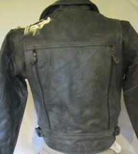 Womens GREY Small Vented Distressed Leather Motorcycle Biker Jacket Petite fit