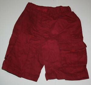 Used Hanna Andersson Boys 140 10 year Shorts Burgundy Red Pull On Cargo Pockets