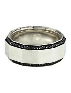 Men's Sterling 925 Silver and Featuring 0.75 Carats Of Round Brilliant Onyx Ring