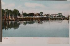 30109 AK WIEK Ostsee Rügen Hafen mit Fischer-Hütten und Kirche 1905