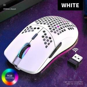 Wireless Gaming Mouse 2.4G RGB Honeycomb Lightweight 69G Matte White