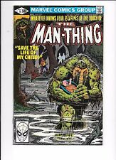 The Man-Thing volume 2 #9 March 1981 Spidey head in UPC box on front cover
