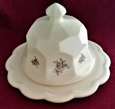 MCNEES ORIGINAL CERAMIC ROUND BUTTER DISH & LID W./ GOLD ROSE PATTERN