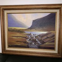 VAL MCGANN ORIGINAL SIGNED FRAMED OIL ON CANVAS/BOARD Mountain Landscape Fishing