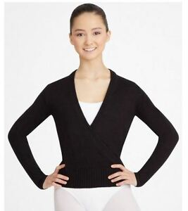 CAPEZIO Wrap Sweater Black CS301 Ladies Size Small Classic Style soft ribbed
