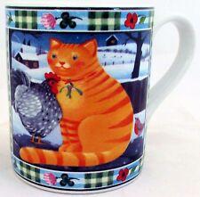 Taza de Gato Exclusivo Divertido & Cat Lindo Taza de Porcelana Escena de la granja hecho a mano en el Reino Unido