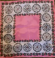 1960's Nasharr Freres Pink & Gray Retro Geometric Floral Scarf (21 x 21)