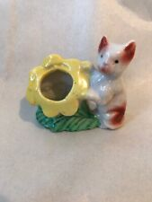 Vintage Antique Toothpick Holder Ceramic Cat Flower Made in Japan circa 1940-50s