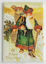 Father Christmas in Green Suit FRIDGE MAGNET (2 x 3 inches) santa claus postcard