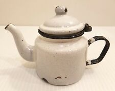 White with Speckles Small Individual Service Size Enamel Tea Pot, Black Handle