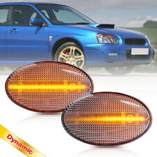 Clear Dynamic Amber Led Side Marker Lamp for 02-07 Subaru Impreza Wrx Sti GDAGDB