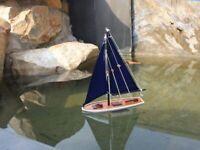 """It Floats 12"""" - Blue w/ Blue Sails - Model Sailboat - Beach Decoration"""