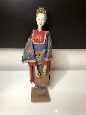 Early c20th Lacquer on Wood Chinese Doll with Hand Embroided Custume Signed