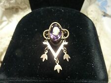 VICTORIAN ANDTIQUE CAMEO BROOCH V victory amethyst stone GOOD FOR DOLL