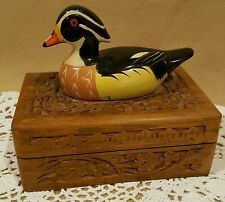 Vintage Carved Wood Box with Resin Duck Lid Made in India