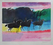 GUIRAMAND Paul - Lithographie originale signée - Les chevaux