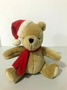 Classic Winnie Pooh Gund Christmas Santa Hat Soft Plush Stuffed Doll Toy Animal