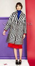 Dries Van Noten Crackled Silver Black Geo Pattern Rhonda Oversized Boxy Coat 42