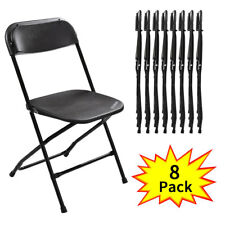 8 Plastic Folding Chairs Wedding Banquet Seat Premium Party Event Chair Black