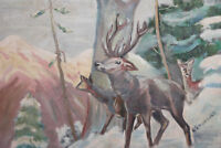 European art 1965 oil painting  forest animals signed