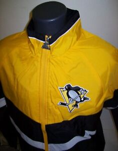 PITTSBURGH PENGUINS Starter Jacket Nylon YELLOW & BLACK Sewn Logos S M L XL 2X