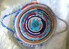 Handmade Cotton Fabric Basket Rope Quilted Multi Color Home Decor Serving Plate