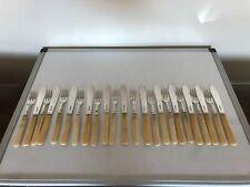 SET OF 12 SOLID SILVER & IVORINE HANDLED FISH KNIVES & FORKS (SHEFFIELD 1925)