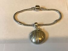 Basketball TG204 on a silver Rhodium Plated Snake Bracelet