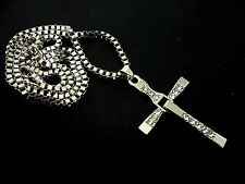 """A LOVELY STEEL &  CRYSTAL CROSS/CRUCIFIX NECKLACE ON 24"""" CHAIN. NEW."""