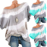 Women Batwing Short Sleeve Loose Baggy Top Summer Striped T-shirt Blouse Plus