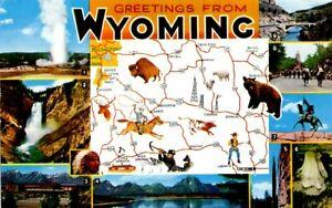 Map Postcard of Wyoming, USA postally unused