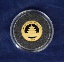 2009 China 1/20oz 0.999 Gold 20 Yuan Panda coin in Capsule with COA   (E7/5)