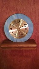 Beautiful Sky Blue With Gold Face Stained Glass Clock !