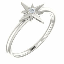 Diamond Solitaire Star Ring In Platinum  ( Size 7 )