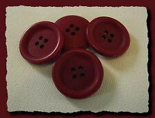 4 BOUTONS ROUGE GRENAT CERISE ACAJOU * 25 mm 2,5 cm * 4 trous * Button neuf lot