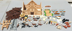 Vintage ERTL 1/64 LONGHORN RANCH FARM COUNTRY HORSES, CATTLE, FENCES PLAY SET