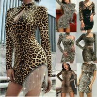 Fashion Women Sexy Leopard Print Bodycon Dress Ladies Evening Party Mini Dresses